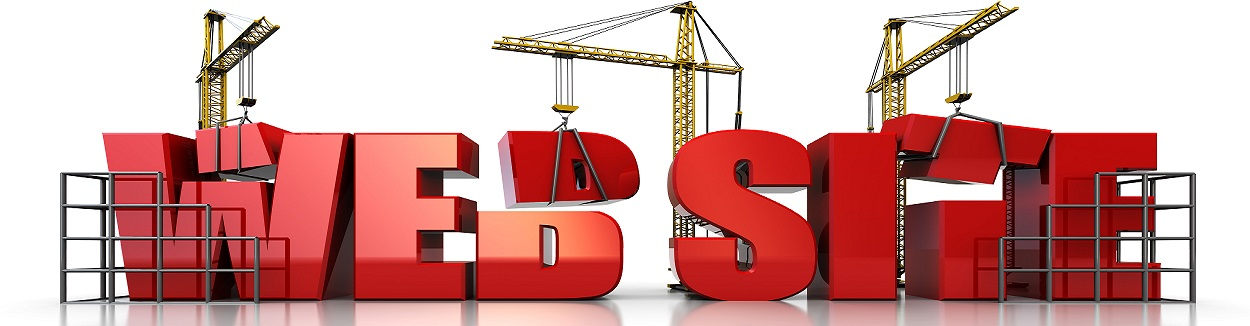 3d illustration of three cranes building text 'web site' over white background