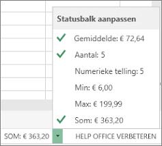 Excel statusbalk